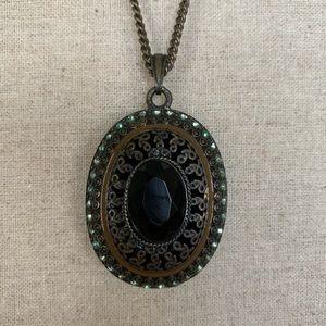 Long dark pendant necklace